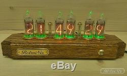 Nixie tube Clock on IN-14 in oak case from RetroNix