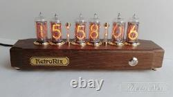 Nixie tube Clock on IN-8 in antique oak case from RetroNix. Russian font