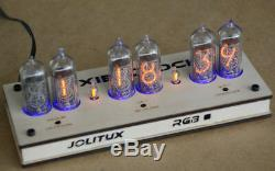 Nixie tube alarm clock sanded wood case tomorrowland RGB LED remote IN-14 US