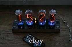 Nixie tube clock include 4x IN-18 tubes and plywood black case retro vintage