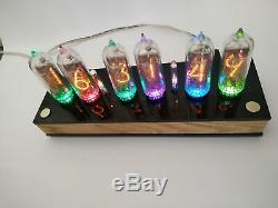 Nixie tube clock include IN-14 tubes and wooden oak case retro vintage