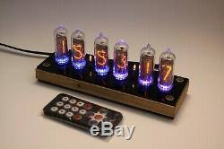 Nixie tube clock include IN-14 tubes and wooden oak enclosure and black cover