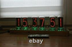 Nixie tube clock include IN-18 tubes and wooden clear case retro vintage