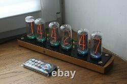 Nixie tube clock include IN-18 tubes and wooden oak case retro vintage