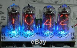 Nixie tube clock kit 2.3 IN-14 Tubes and multicolor RGB backlight in wood box