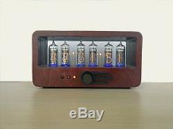 Nixie tube clock with 6 IN-14 tubes in wooden case