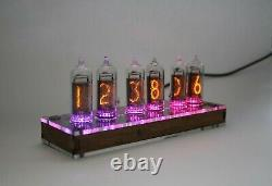 Nixie tube clock with IN-14 tubes and CLEAR CASE Remote Temperature