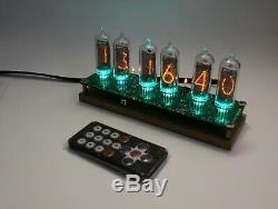 Nixie tube clock with IN-14 tubes and oak stand Remote Temperature Date
