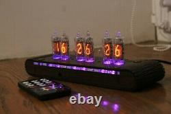 Nixie tube clock with IN-16 miniature tubes (fine 5) rosewood Remote Night modes