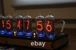 Nixie tube clock with IN-8-2 (fine 5) Desk plywood black Remote Auto Temperature