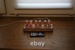 Nixie tube clock with IN-8-2 (fine 5) Desk plywood clear Remote Auto Temperature