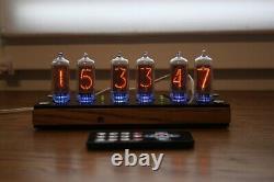 Nixie tube clock with IN-8-2 (fine 5) Desk wooden black Remote Auto Temperature