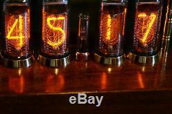 Nixie tubes clock in-14 handmade Mahogany Sapele wood veneered case steampunk