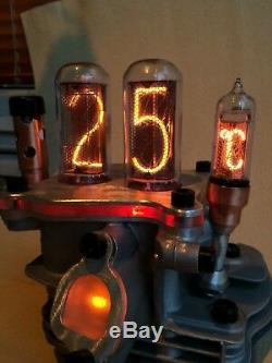 Original Engine parts Steampunk Clock Thermometer IN18 tubes by Monjibox Nixie