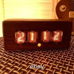 Premium Nixie Tube Clock IN-12. Oak enclosure. Best gift