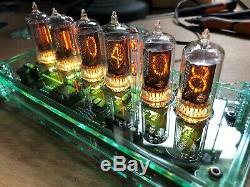 QTC+ Nixie Tube Clock, British Mullard ZM1080 Tubes Glass-Tint Plexi Case+PSU A