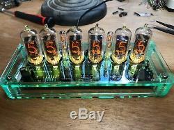 QTC+ Nixie Tube Clock British Mullard ZM1080 Tubes+ Gls-Tnt Plexi Case +PSU (B)