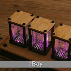 Retro 6 Digit Wood / Bamboo RGB LED Tube Desk Clock USB DIY KIT Not Nixie Clock