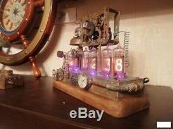 Retro Nixie Tube Clock on Soviet TubesIN-14 Vintage Hand Made SteamPunk Clock