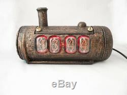 Skullshady NIXIE TUBES clock, vintage retro hand made 3D Gift Art Deco Boho Chic