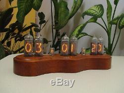 Snowman by Monjibox Nixie Clock IN14 tubes Oak case