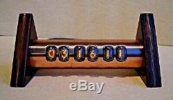 Tobleron Nixie Clock with IN17 tubes wood copper case steampunk by Monjibox