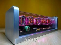 Unique retro 6xIN-12 Nixie Tubes Clock CNC machined aluminum case pink LED alarm