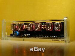 Unique retro style 6 x IN-12 Nixie Tubes Clock acrylic case & red led backlight