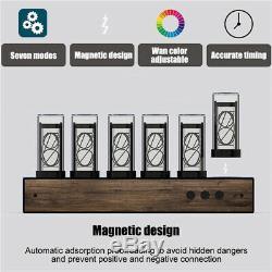 Vintage 16m Nixie Tube Clock Gixie USB Digital Desk Clock Assembled Walnut Panel
