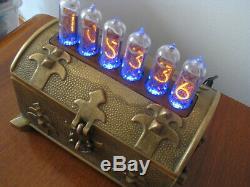 Vintage Brass case Nixie Clock IN14 tubes RGB Monjibox