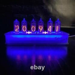 Vintage NIXIE TUBE CLOCK with IN-14 Wooden Case Tubes HandMade Clock Home Decor