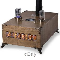 Vintage Wooden Bluetooth Speaker Horn IN-12 Nixie Tube Clock Wireless Charger