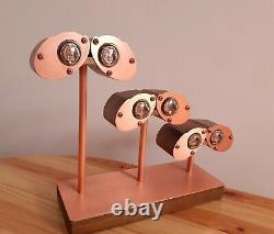 Walnut and Copper WallE case Nixie Clock with Philips ZM1020 tubes by Monjibox