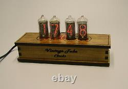 Wooden nixie clock IN-8 tube, RGB color backlight